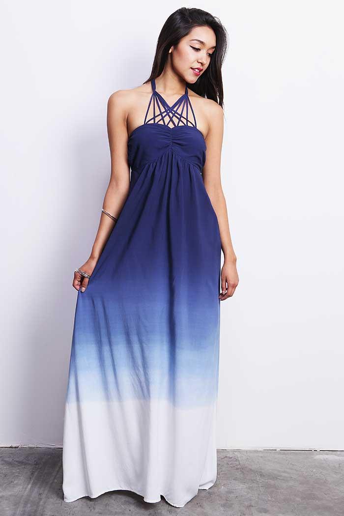 Blue Ombre Maxi Dress